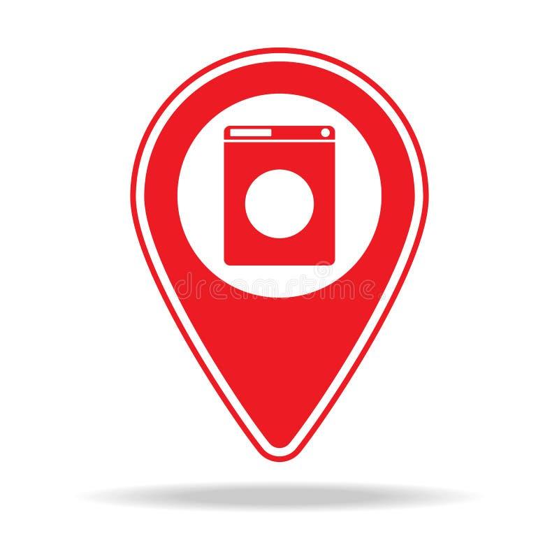 icône de goupille de carte de blanchisserie Élément d'icône d'avertissement de goupille de navigation pour les apps mobiles de co illustration de vecteur