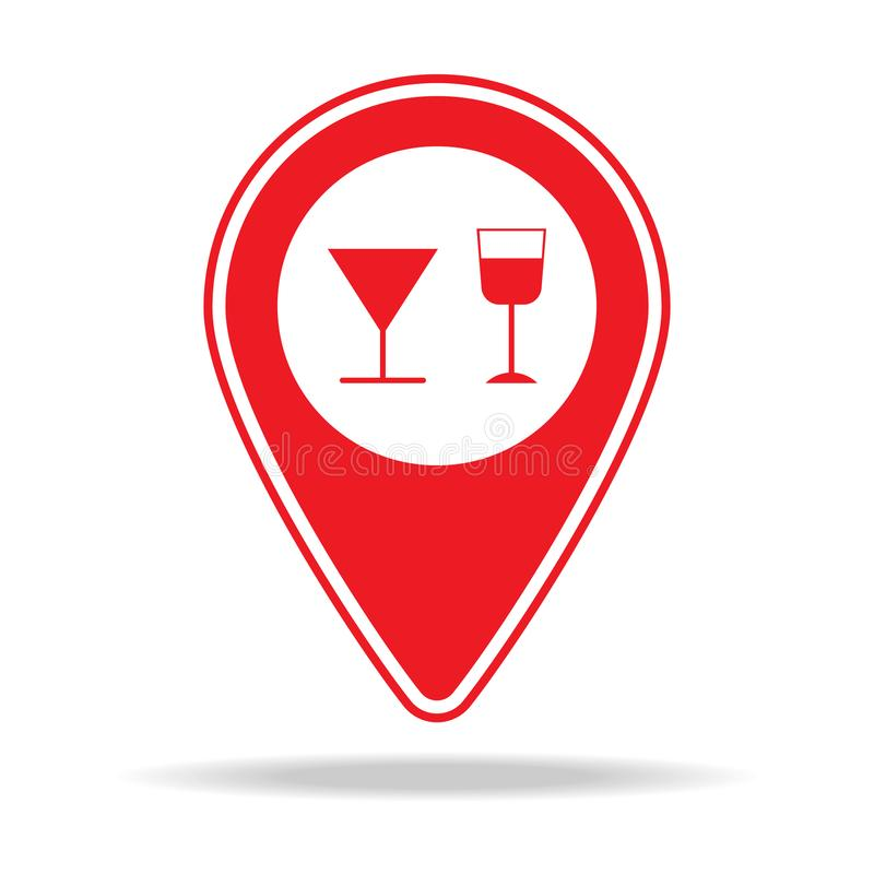 icône de goupille de carte de boîte de nuit Élément d'icône d'avertissement de goupille de navigation pour les apps mobiles de co illustration libre de droits