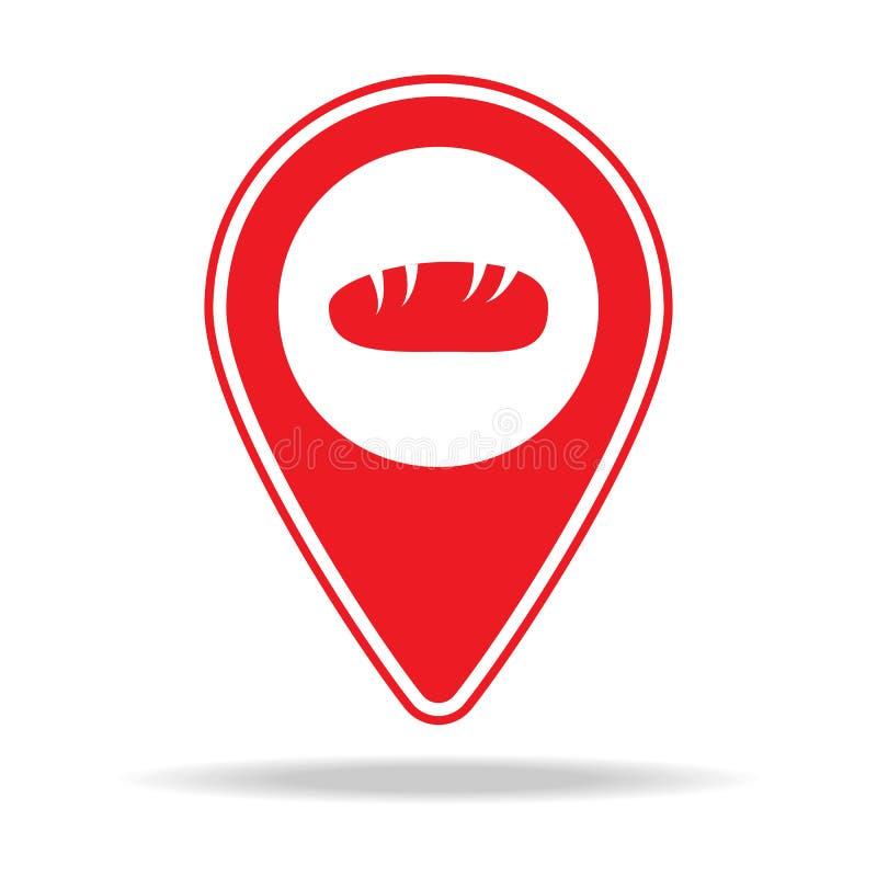 icône de goupille de carte de boulangerie Élément d'icône d'avertissement de goupille de navigation pour les apps mobiles de conc illustration de vecteur