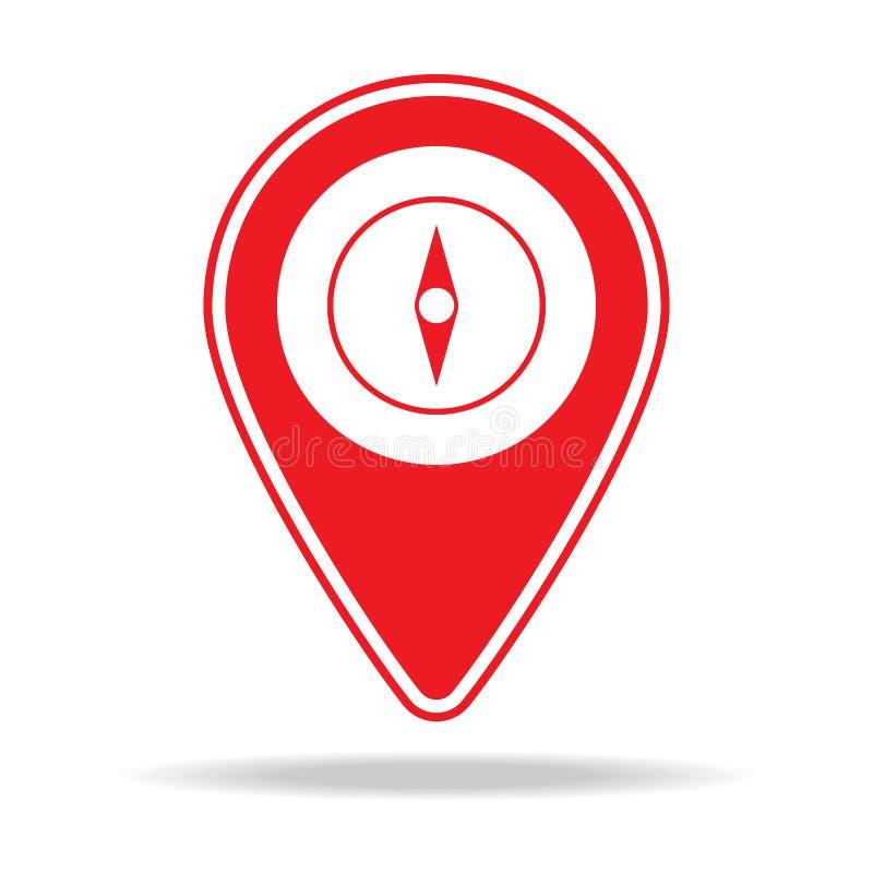 icône de goupille de carte de boussole Élément d'icône d'avertissement de goupille de navigation pour les apps mobiles de concept illustration stock