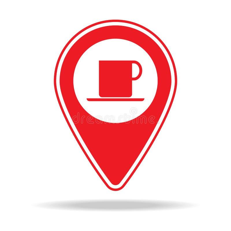 icône de goupille de carte de café Élément d'icône d'avertissement de goupille de navigation pour les apps mobiles de concept et  illustration libre de droits