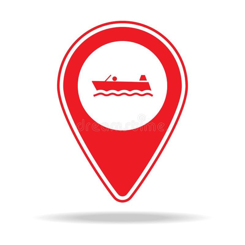 icône de goupille de carte de canotage Élément d'icône d'avertissement de goupille de navigation pour les apps mobiles de concept illustration stock