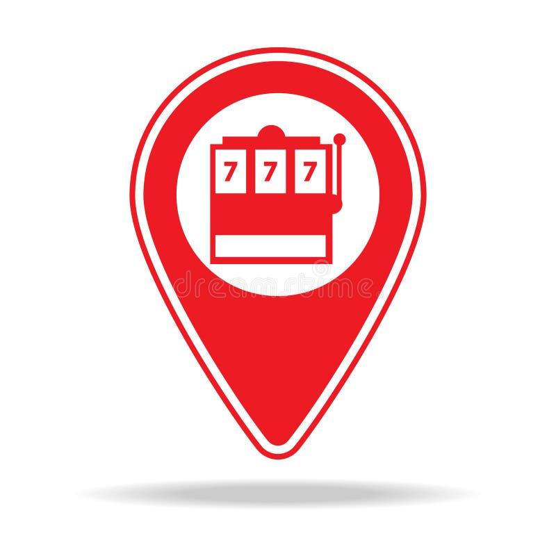 icône de goupille de carte de casino Élément d'icône d'avertissement de goupille de navigation pour les apps mobiles de concept e illustration stock