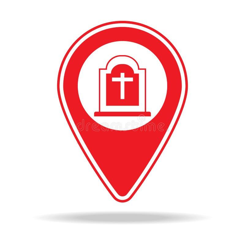 icône de goupille de carte de cimetière Élément d'icône d'avertissement de goupille de navigation pour les apps mobiles de concep illustration de vecteur