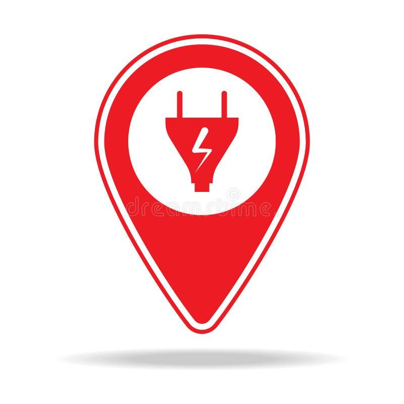 icône de goupille de carte d'électricien Élément d'icône d'avertissement de goupille de navigation pour les apps mobiles de conce illustration stock