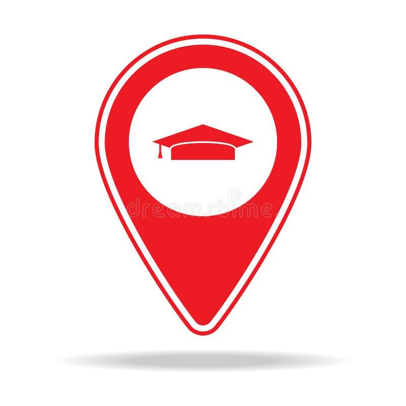 icône de goupille de carte d'université Élément d'icône d'avertissement de goupille de navigation pour les apps mobiles de concep illustration libre de droits
