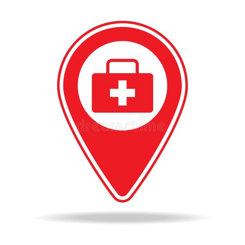 icône de goupille de carte de docteur Élément d'icône d'avertissement de goupille de navigation pour les apps mobiles de concept  illustration libre de droits