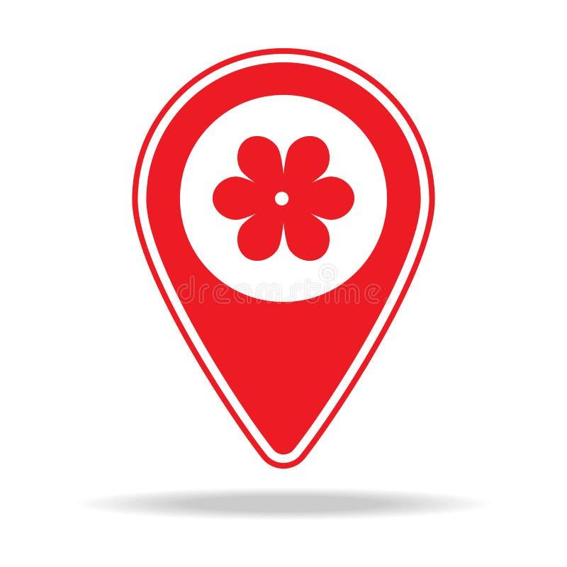 icône de goupille de carte de fleuriste Élément d'icône d'avertissement de goupille de navigation pour les apps mobiles de concep illustration libre de droits
