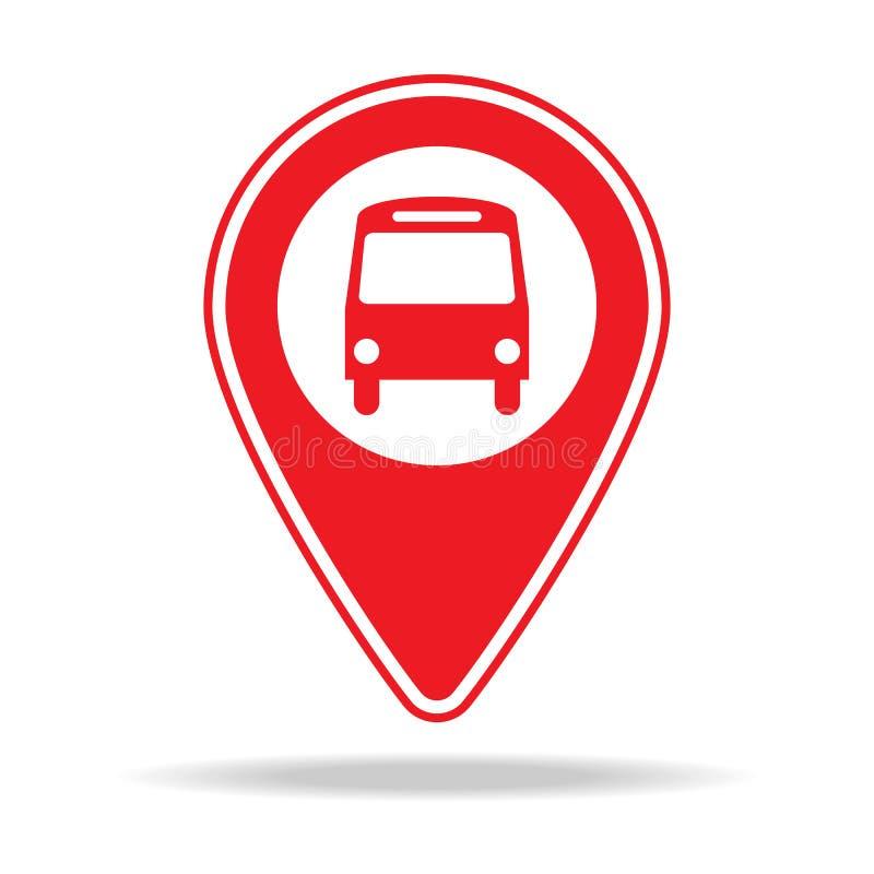 icône de goupille de carte de gare routière Élément d'icône d'avertissement de goupille de navigation pour les apps mobiles de co illustration stock