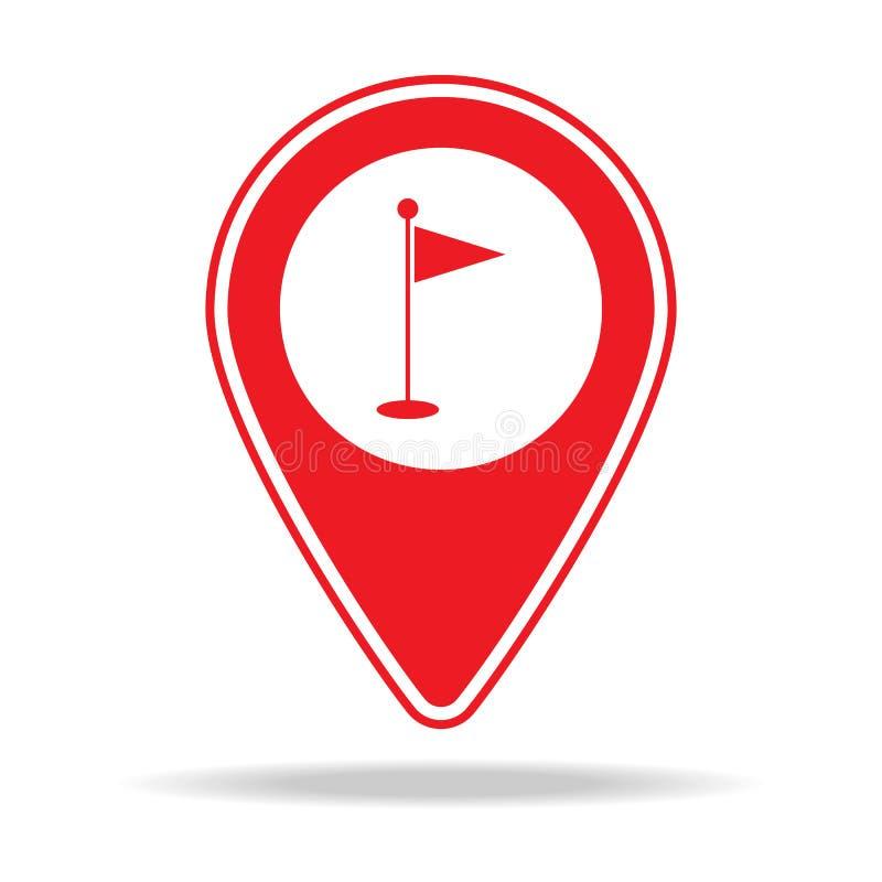 icône de goupille de carte de golf Élément d'icône d'avertissement de goupille de navigation pour les apps mobiles de concept et  illustration stock