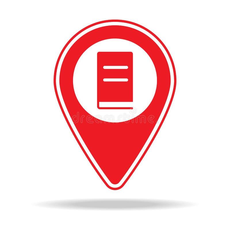 icône de goupille de carte de librairie Élément d'icône d'avertissement de goupille de navigation pour les apps mobiles de concep illustration stock