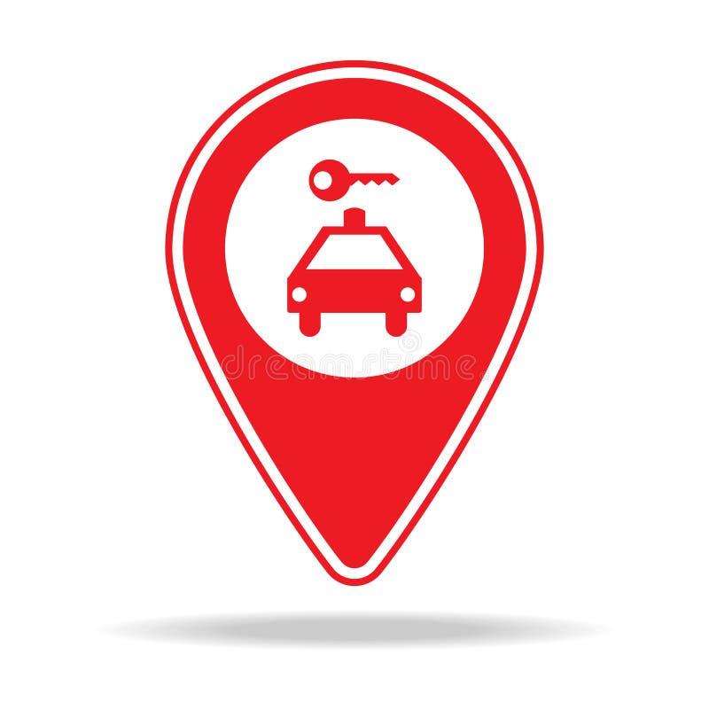 icône de goupille de carte de location de voiture Élément d'icône d'avertissement de goupille de navigation pour les apps mobiles illustration de vecteur