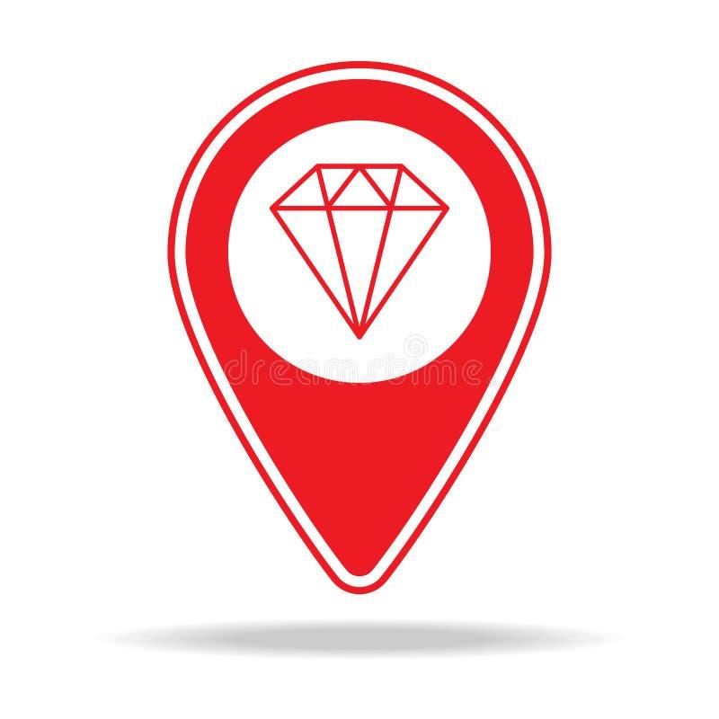 icône de goupille de carte de magasin de bijoux Élément d'icône d'avertissement de goupille de navigation pour les apps mobiles d illustration de vecteur