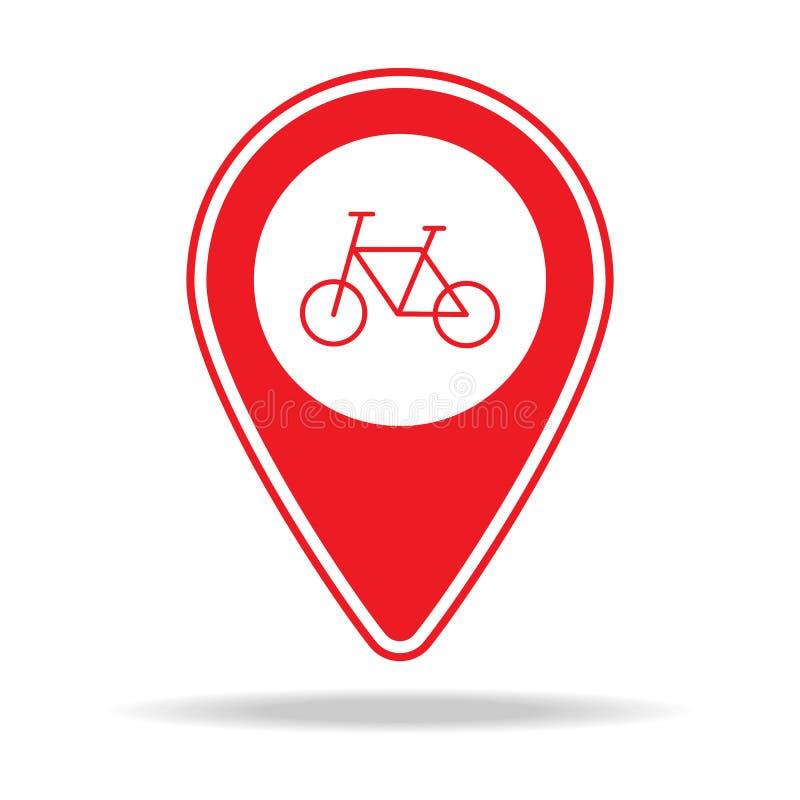 icône de goupille de carte de magasin de cycles Élément d'icône d'avertissement de goupille de navigation pour les apps mobiles d illustration libre de droits