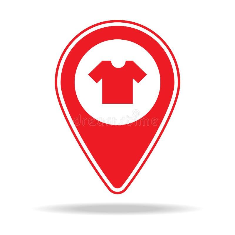 icône de goupille de carte de magasin d'habillement Élément d'icône d'avertissement de goupille de navigation pour les apps mobil illustration libre de droits