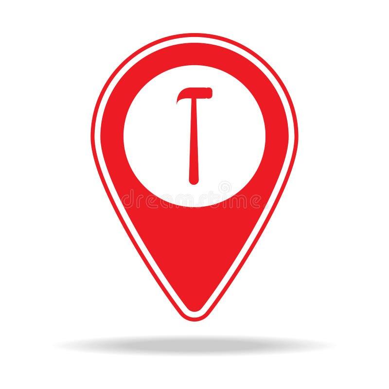 icône de goupille de carte de magasin de matériel Élément d'icône d'avertissement de goupille de navigation pour les apps mobiles illustration libre de droits