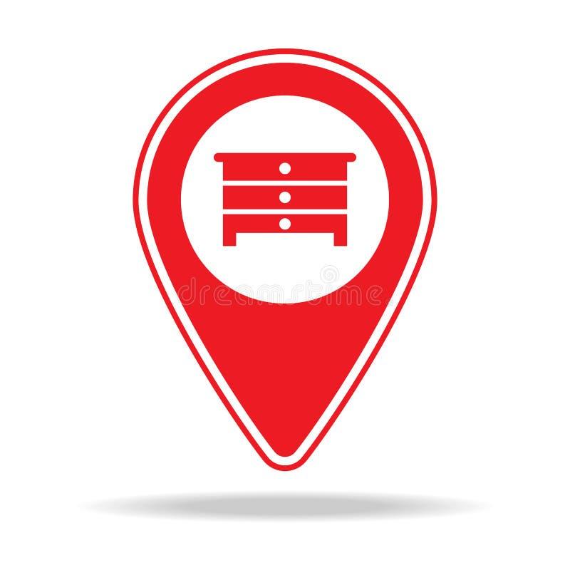 icône de goupille de carte de magasin de meubles Élément d'icône d'avertissement de goupille de navigation pour les apps mobiles  illustration libre de droits
