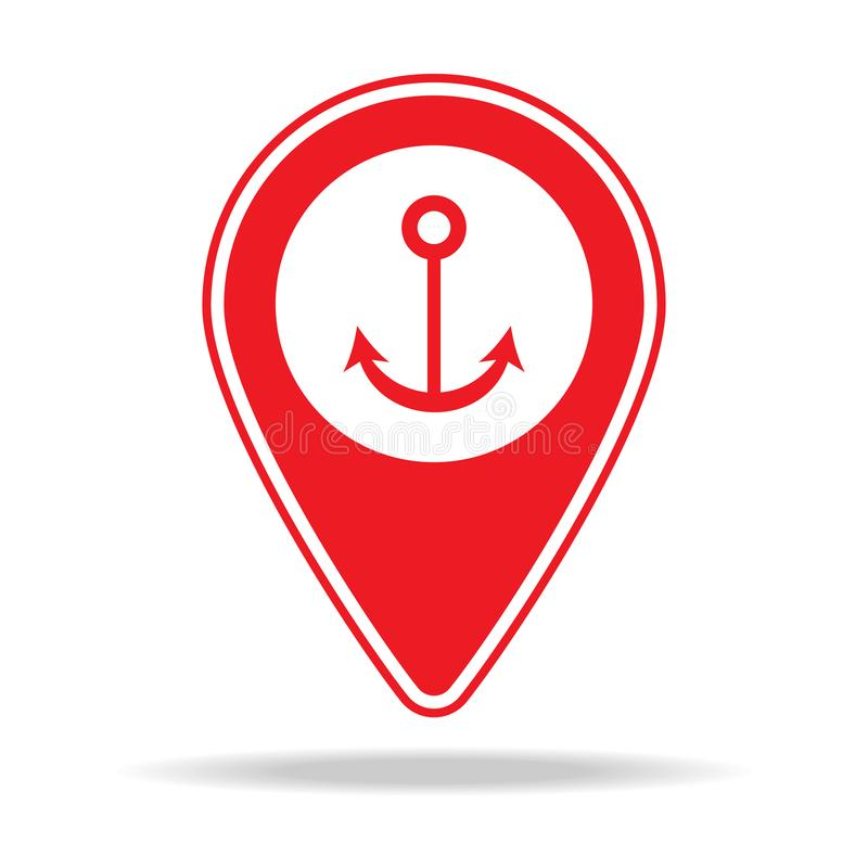 icône de goupille de carte de marina Élément d'icône d'avertissement de goupille de navigation pour les apps mobiles de concept e illustration stock