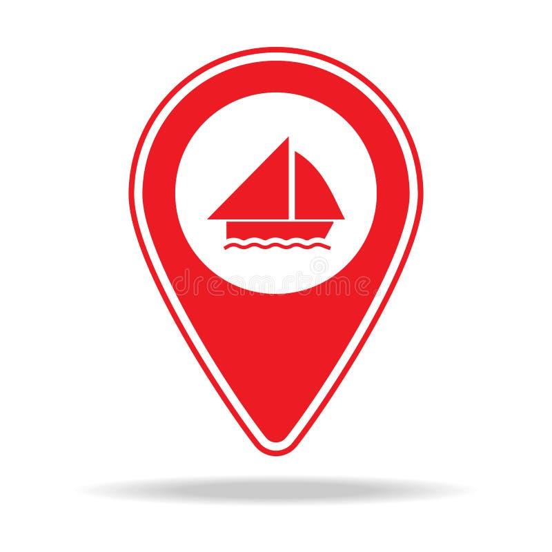 icône de goupille de carte de navigation Élément d'icône d'avertissement de goupille de navigation pour les apps mobiles de conce illustration libre de droits