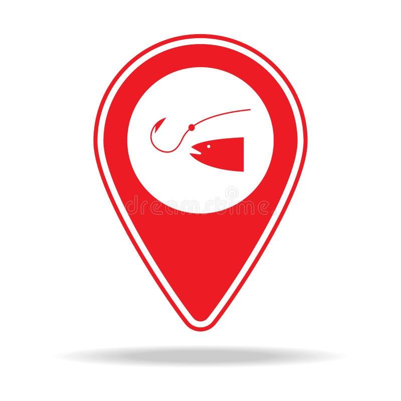 icône de goupille de carte de pêche Élément d'icône d'avertissement de goupille de navigation pour les apps mobiles de concept et illustration de vecteur
