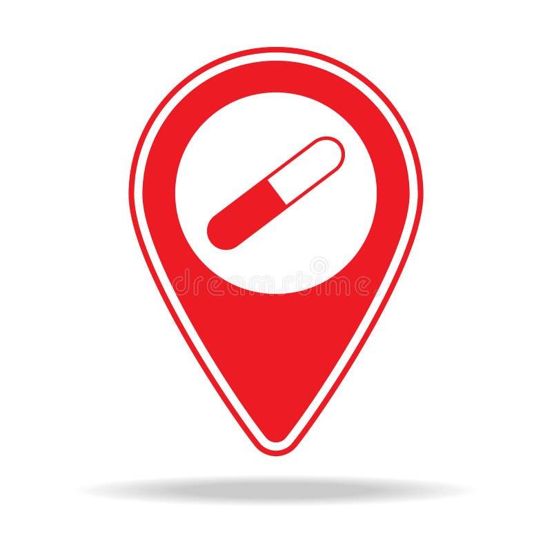 icône de goupille de carte de pharmacie Élément d'icône d'avertissement de goupille de navigation pour les apps mobiles de concep illustration stock