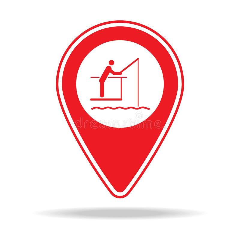 icône de goupille de carte de pilier de pêche Élément d'icône d'avertissement de goupille de navigation pour les apps mobiles de  illustration libre de droits