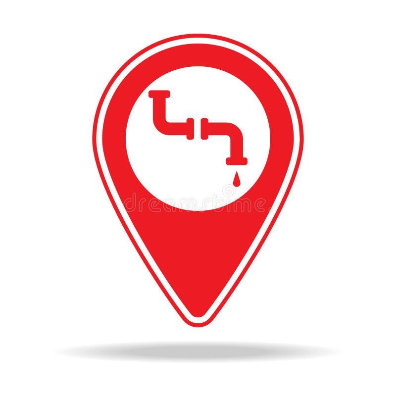 icône de goupille de carte de plombier Élément d'icône d'avertissement de goupille de navigation pour les apps mobiles de concept illustration stock