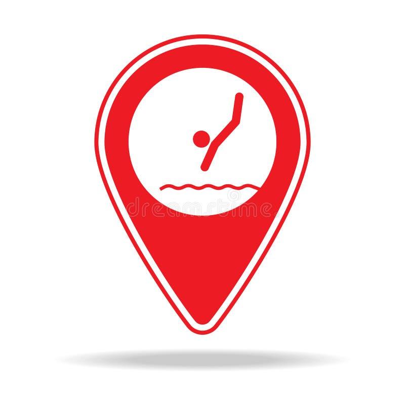 icône de goupille de carte de plongée Élément d'icône d'avertissement de goupille de navigation pour les apps mobiles de concept  illustration de vecteur
