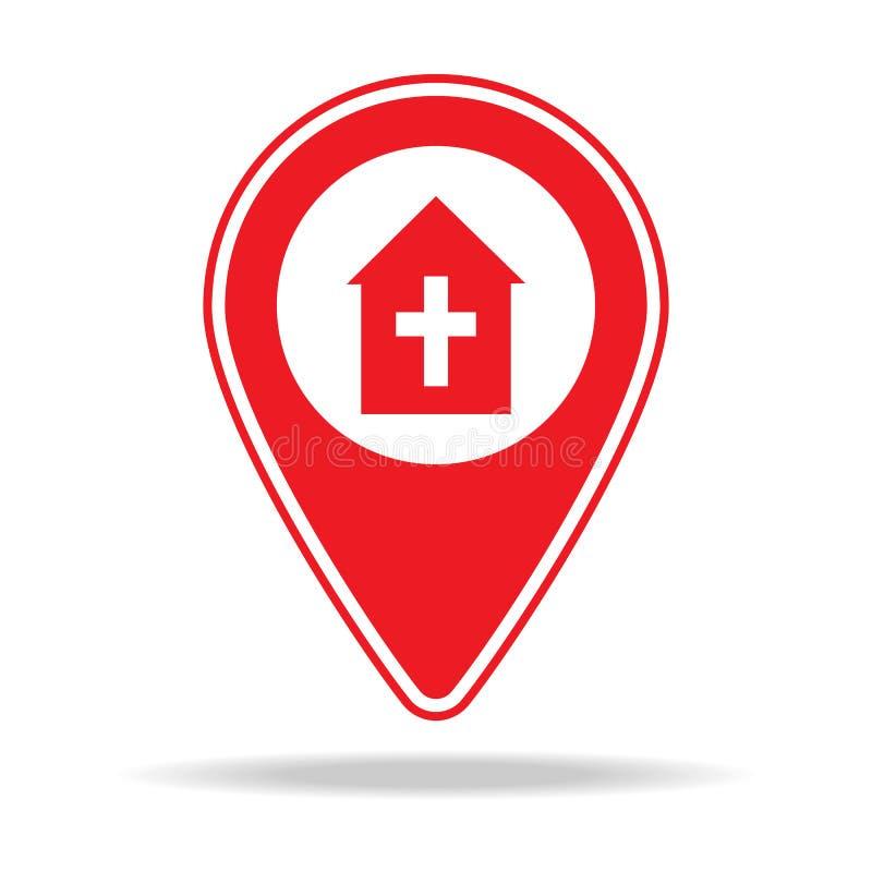 icône de goupille de carte de pompes funèbres Élément d'icône d'avertissement de goupille de navigation pour les apps mobiles de  illustration de vecteur