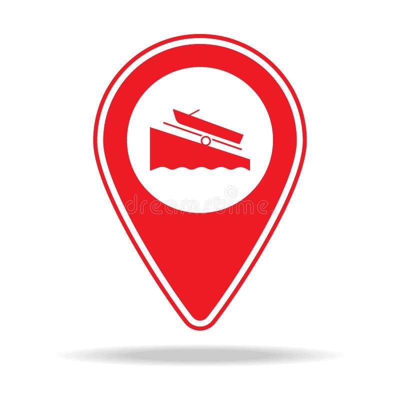 icône de goupille de carte de rampe de bateau Élément d'icône d'avertissement de goupille de navigation pour les apps mobiles de  illustration libre de droits