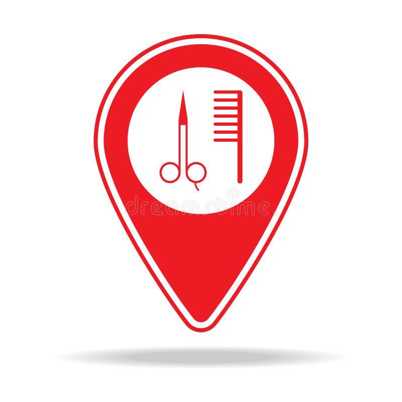 icône de goupille de carte de salon de beauté Élément d'icône d'avertissement de goupille de navigation pour les apps mobiles de  illustration stock