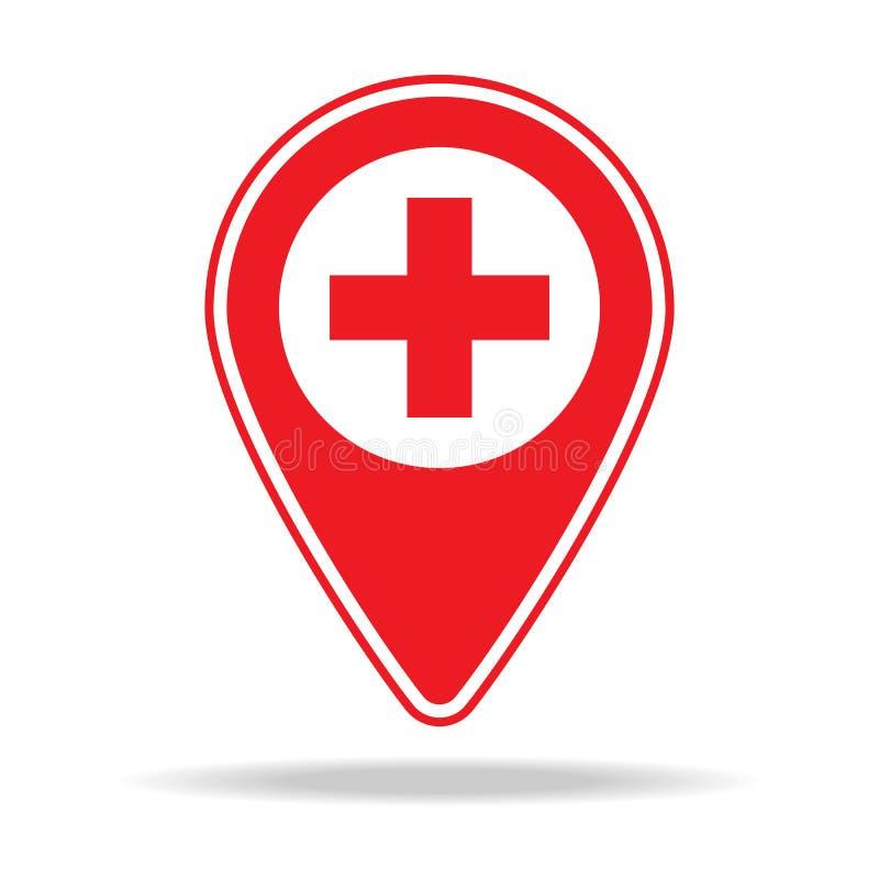 icône de goupille de carte de santé Élément d'icône d'avertissement de goupille de navigation pour les apps mobiles de concept et illustration stock