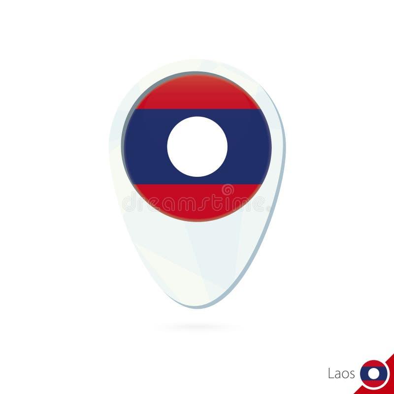 Icône de goupille de carte de site de drapeau du Laos sur le fond blanc illustration libre de droits