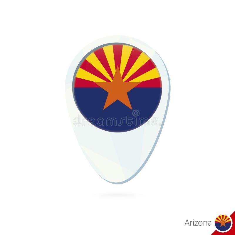 Icône de goupille de carte de site de drapeau de l'Arizona d'état des Etats-Unis sur le fond blanc illustration de vecteur