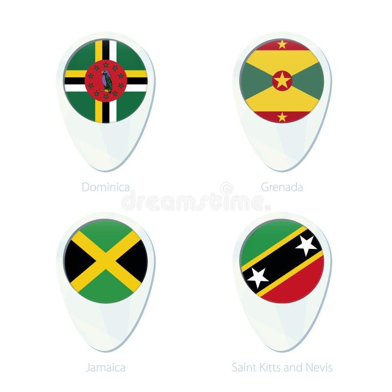 Icône de goupille de carte de site de drapeau de la Dominique, du Grenada, de la Jamaïque, du saint Kitis et du Niévès illustration libre de droits