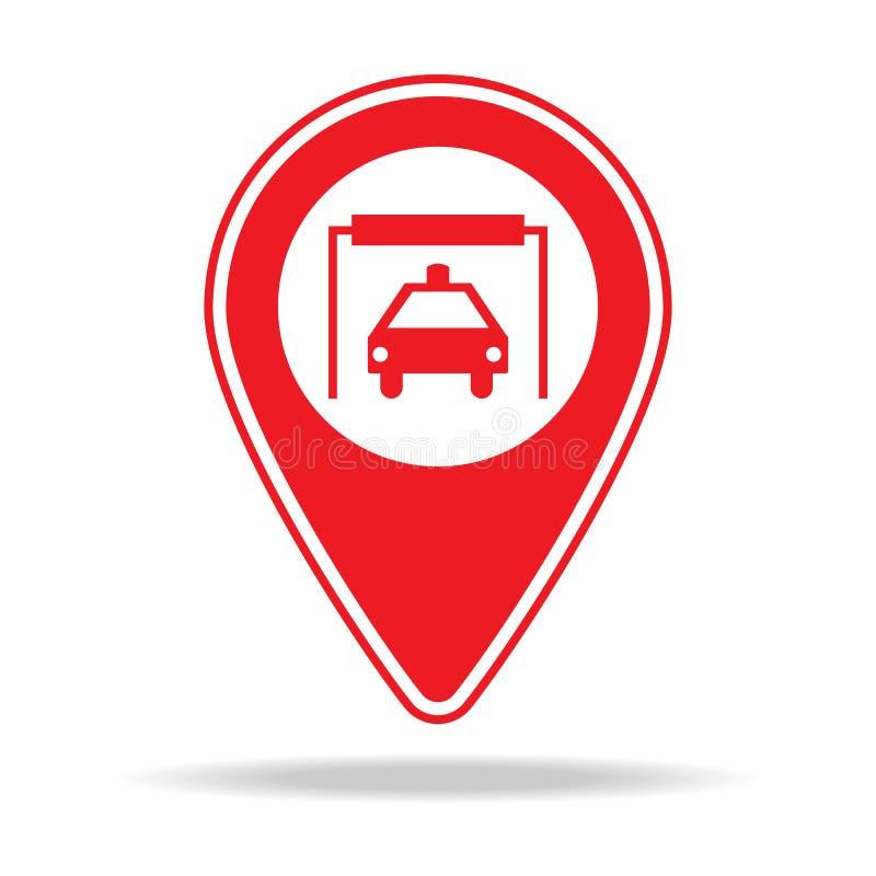 icône de goupille de carte de station de lavage Élément d'icône d'avertissement de goupille de navigation pour les apps mobiles d illustration libre de droits