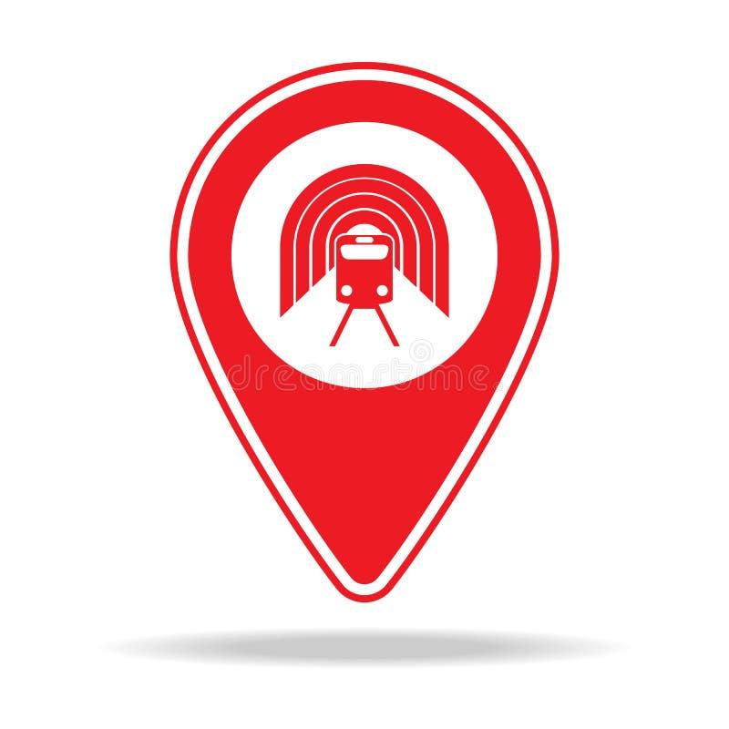 icône de goupille de carte de station de métro Élément d'icône d'avertissement de goupille de navigation pour les apps mobiles de illustration de vecteur
