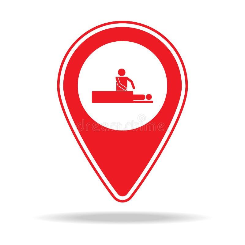 icône de goupille de carte de station thermale Élément d'icône d'avertissement de goupille de navigation pour les apps mobiles de illustration stock