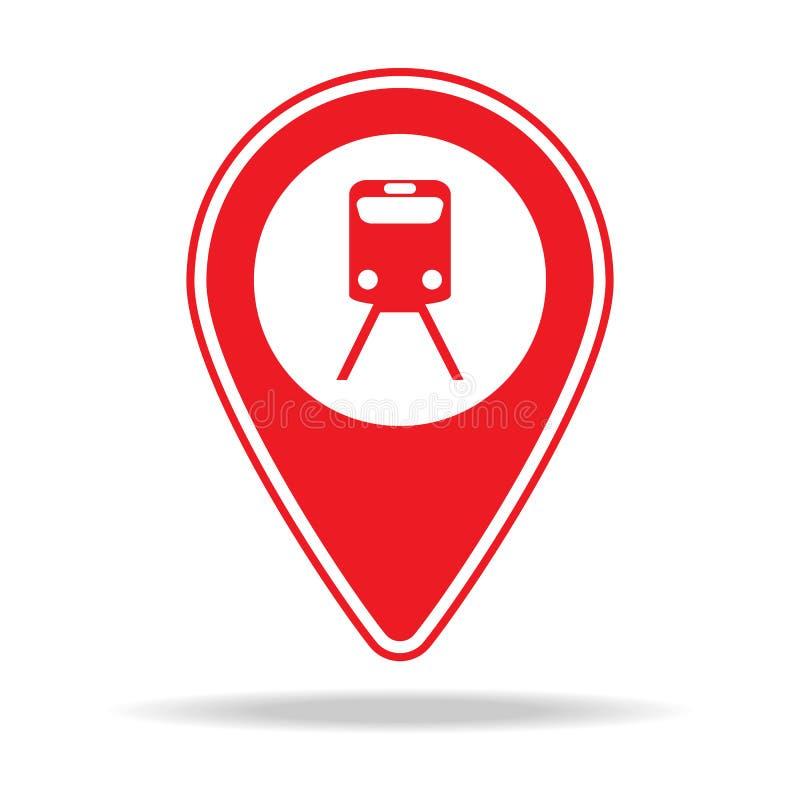 icône de goupille de carte de station de train Élément d'icône d'avertissement de goupille de navigation pour les apps mobiles de illustration de vecteur