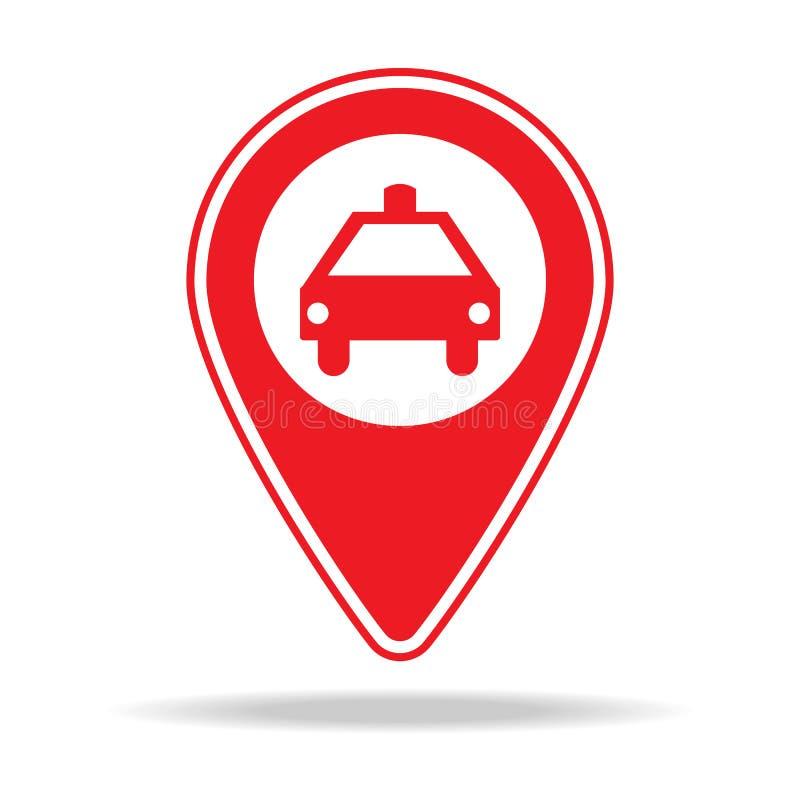 icône de goupille de carte de support de taxi Élément d'icône d'avertissement de goupille de navigation pour les apps mobiles de  illustration libre de droits