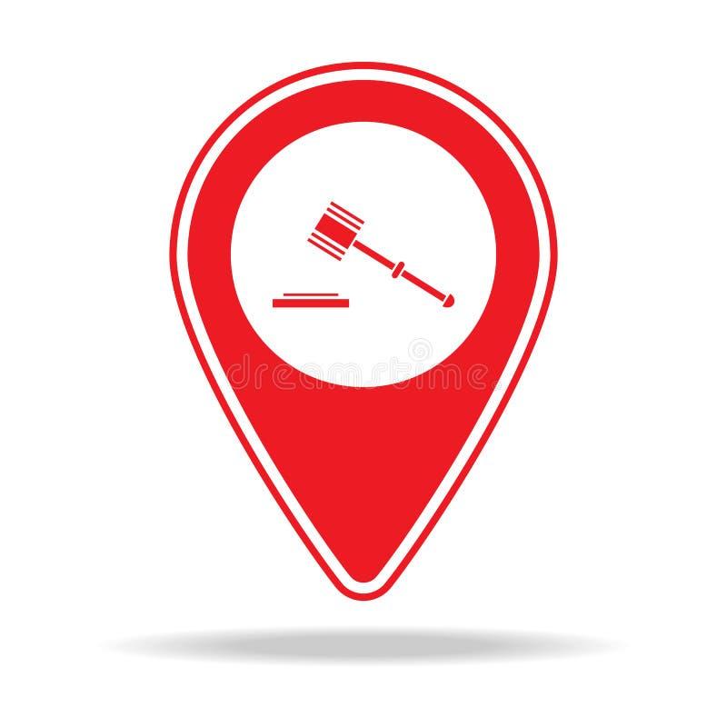 icône de goupille de carte de tribunal Élément d'icône d'avertissement de goupille de navigation pour les apps mobiles de concept illustration de vecteur