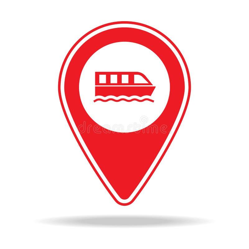 icône de goupille de carte de visite de bateau Élément d'icône d'avertissement de goupille de navigation pour les apps mobiles de illustration de vecteur