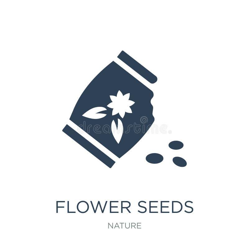 icône de graines de fleur dans le style à la mode de conception icône de graines de fleur d'isolement sur le fond blanc les grain illustration de vecteur