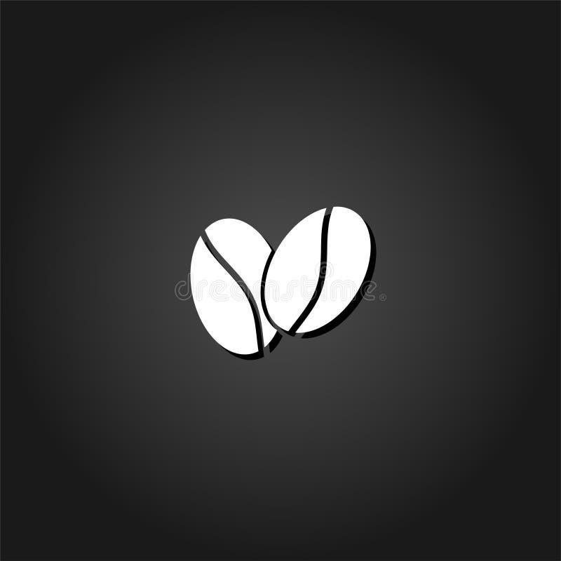 Icône de grains de café plate illustration de vecteur