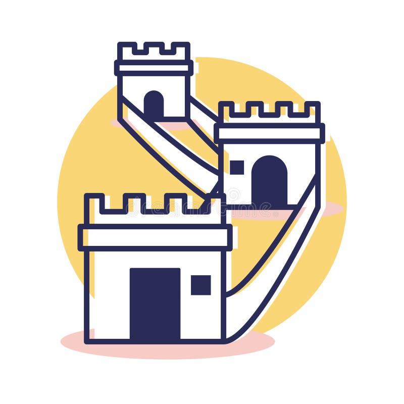 Icône de Grande Muraille - voyage et destination illustration de vecteur