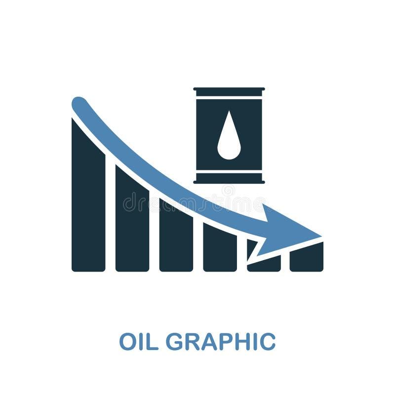 Icône de graphique de diminution d'huile Conception monochrome de style de collection d'icône de diagramme Ui Diminution simple p illustration libre de droits