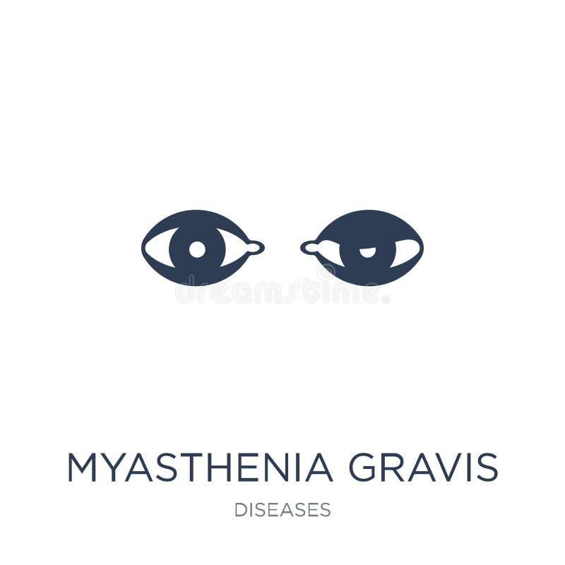 Icône de gravis de Myasthenia Ico plat à la mode de gravis de Myasthenia de vecteur illustration stock