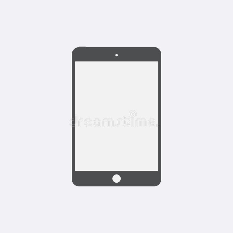 Icône de Gray Tablet avec l'écran vide d'isolement Signe plat simple moderne de dispositif Concep de comprimé d'Internet illustration libre de droits