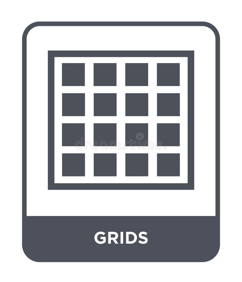 icône de grilles dans le style à la mode de conception icône de grilles d'isolement sur le fond blanc symbole plat simple et mode illustration de vecteur