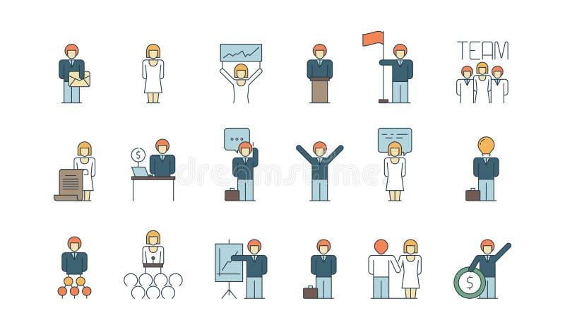 Icône de groupe d'affaires Équipe travaillant ensemble le vecteur du même rang de contrôle de processus industriel d'affaires d'a illustration libre de droits